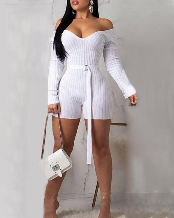 Long Sleeve Off Shoulder Solid Color Romper (With Belt)