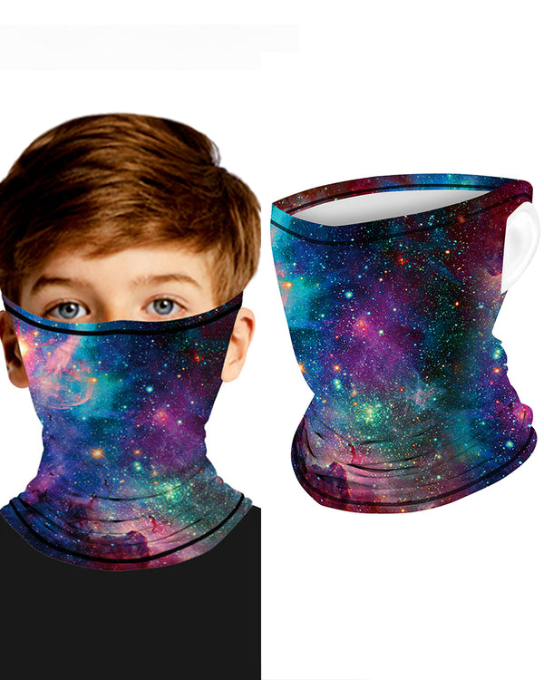 Galaxy Print Breathable Ear Loop Face Bandana Headwrap For Children