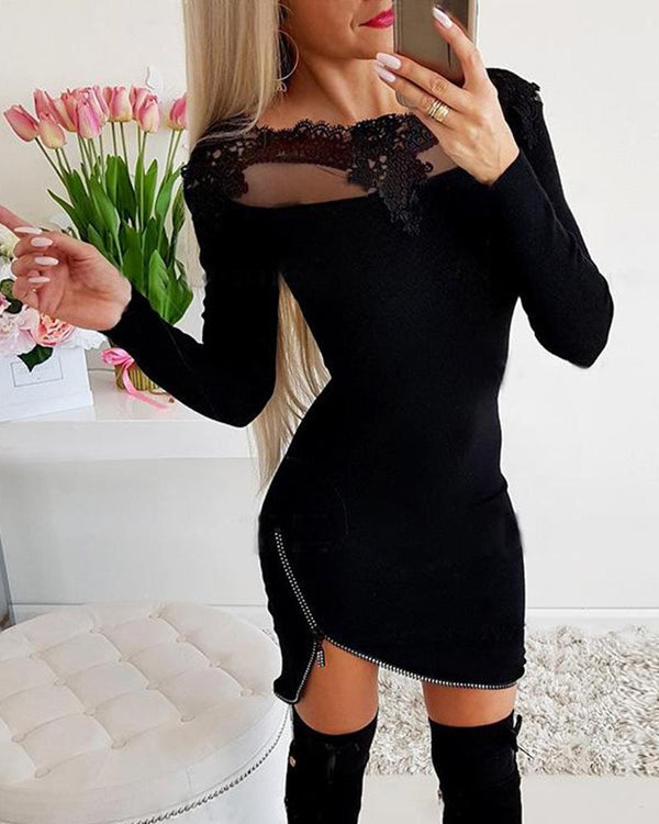 Solid Lace Collar Zip Dress