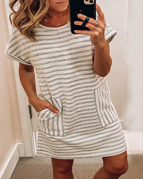 Round Neck Striped Pockets Casual Dress