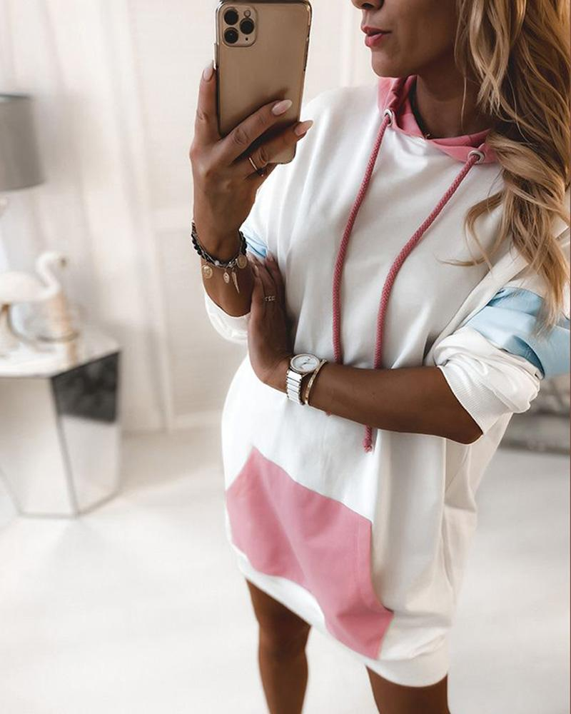 Long Sleeve Hooded Colorblock Dress