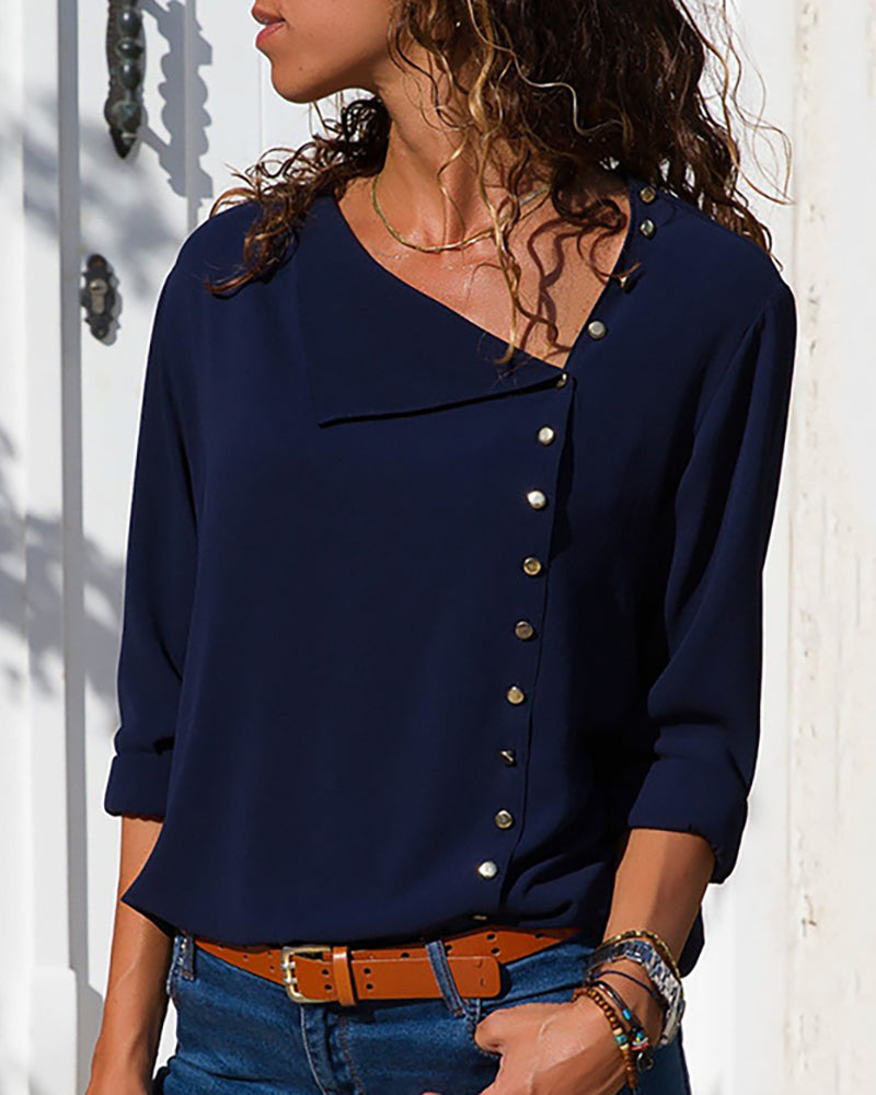 Solid Button Embellished Casual Blouse