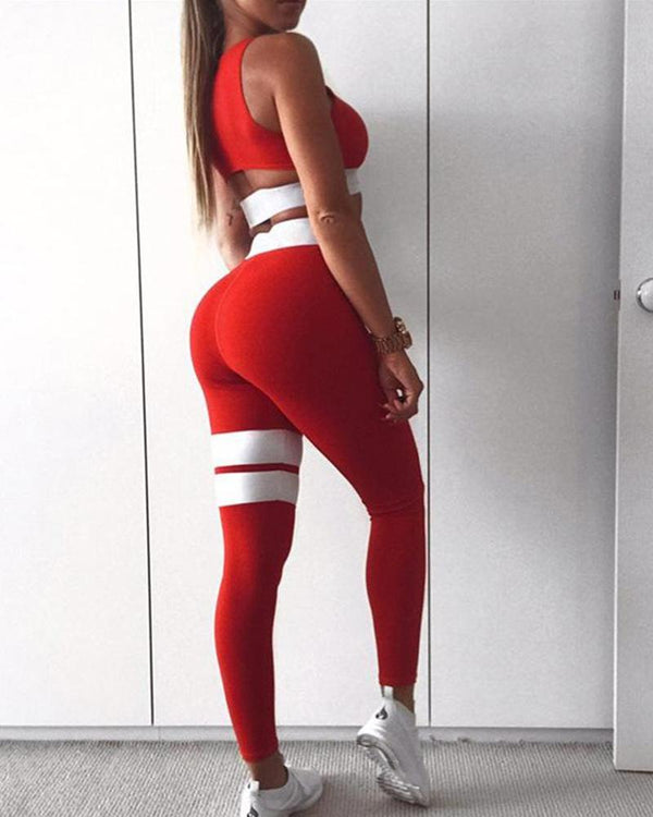 Contrast Detail Two-Piece Sports Set