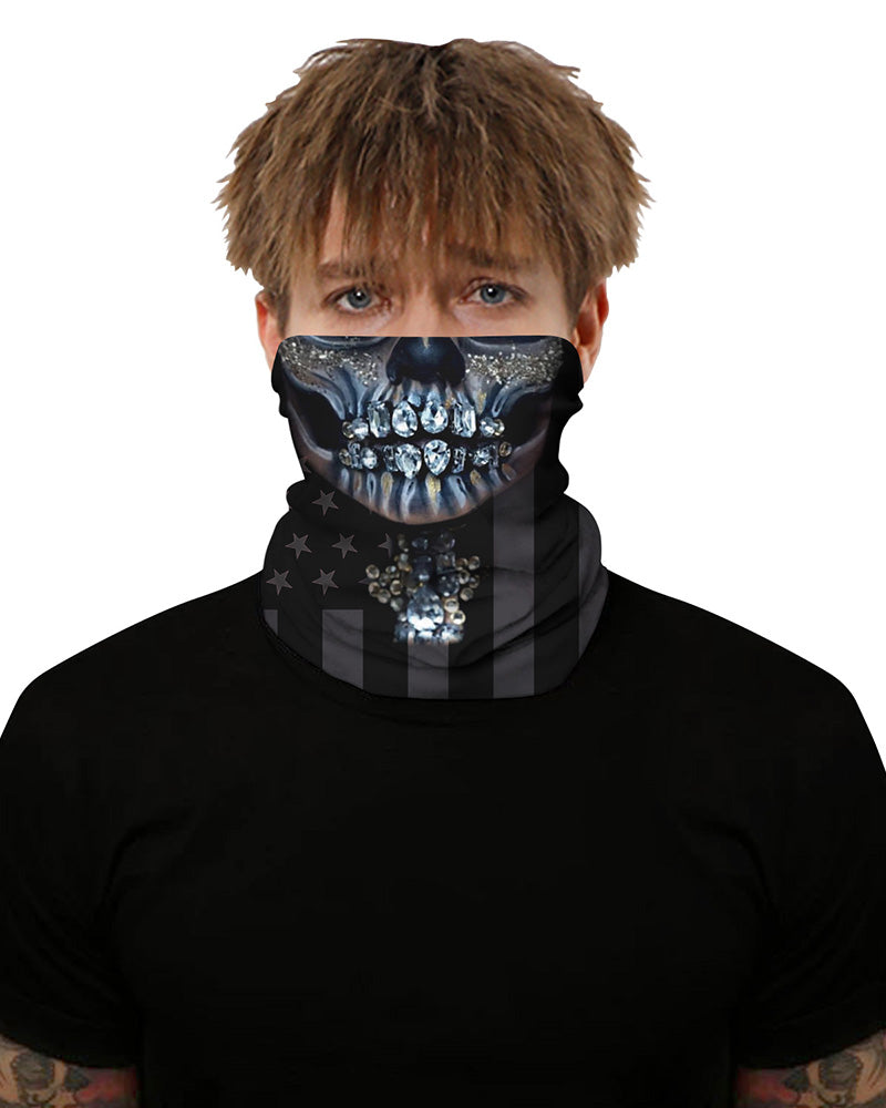 Skull Flag Print Breathable Face Bandana Magic Scarf Headwrap Balaclava