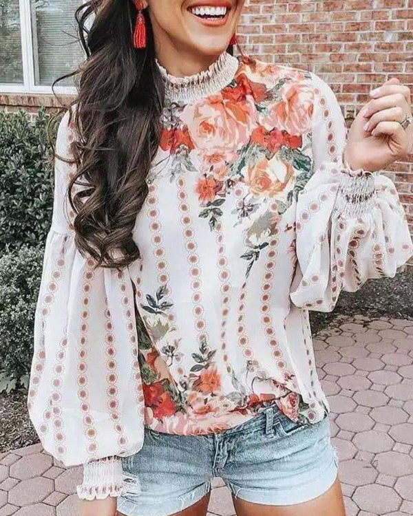 High Neck Floral Print Top
