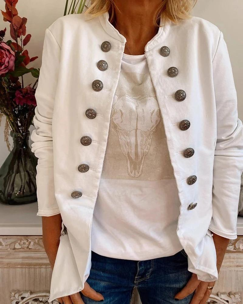 Solid Button Design Long Sleeve Casual Coat