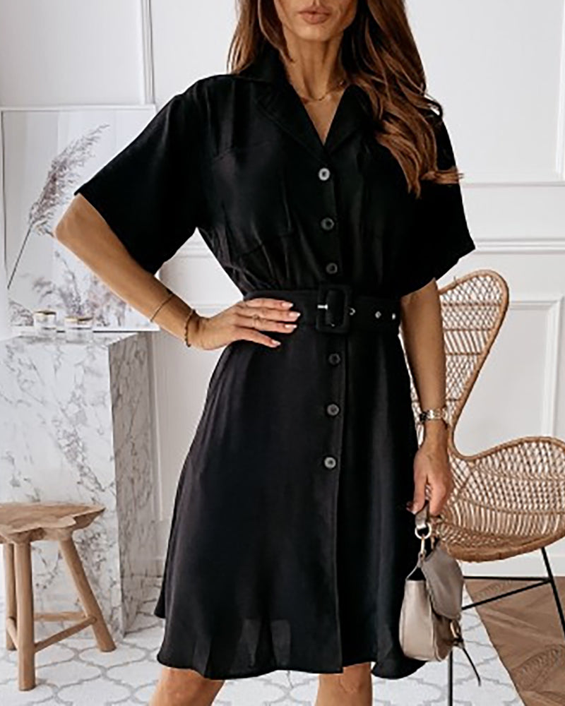 Solid Button Design Short Sleeve Shirt Dress