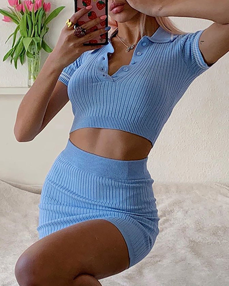 Solid Ribbed Short Sleeve Crop Top & Skirt Set