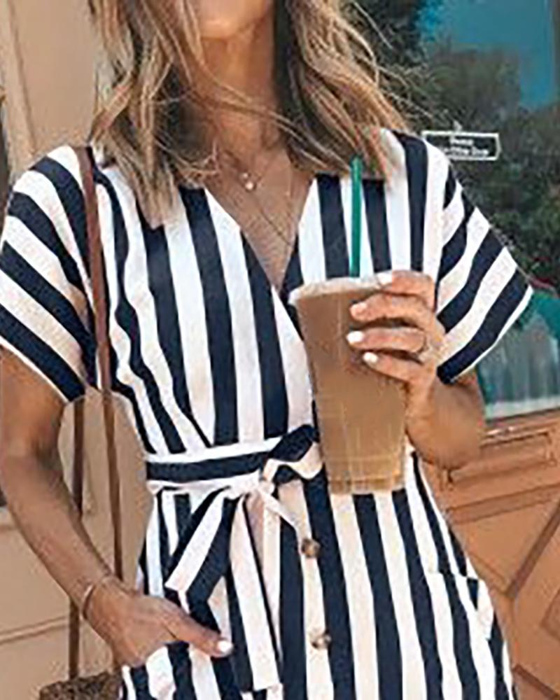 Striped Button Design Pockets Casual Dress