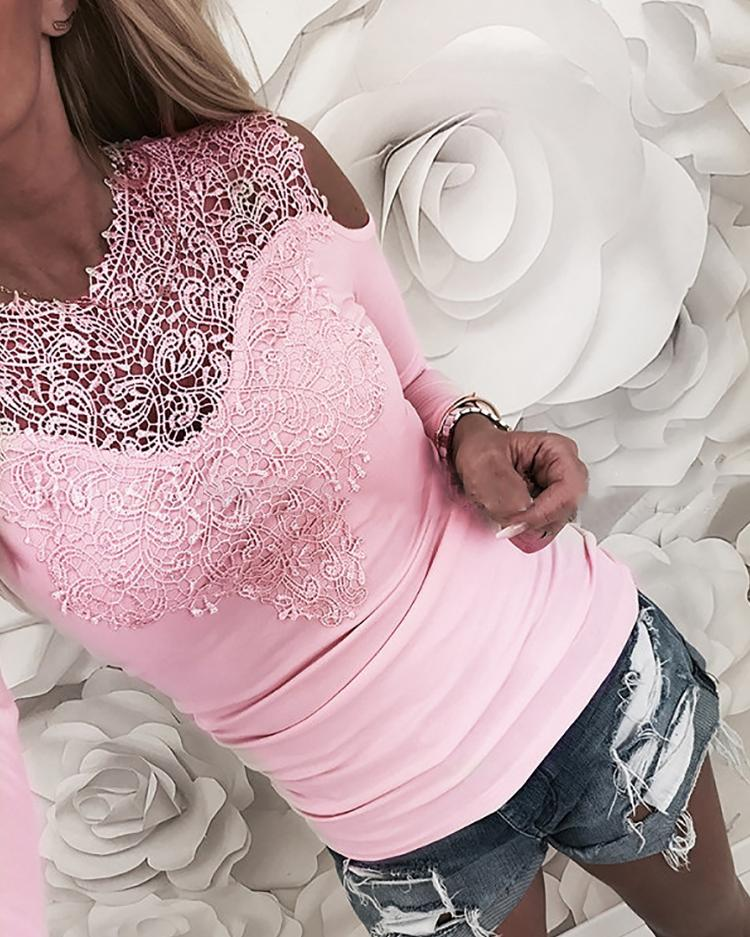 Appliqued Lace Cold Shoulder Blouse