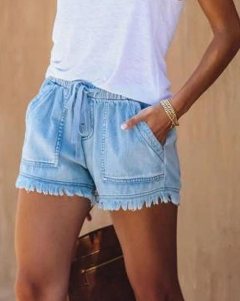 Frayed Hem Denim Shorts