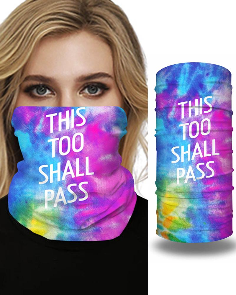 Tie Dye Letter Print Breathable Face Bandana Magic Scarf Headwrap Balaclava