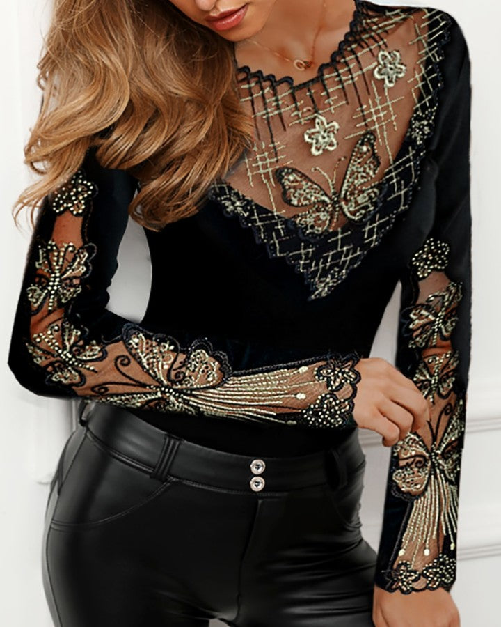 Sheer Mesh Butterfly Studded Design Blouse