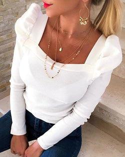 Solid Puffed Sleeve Blouse