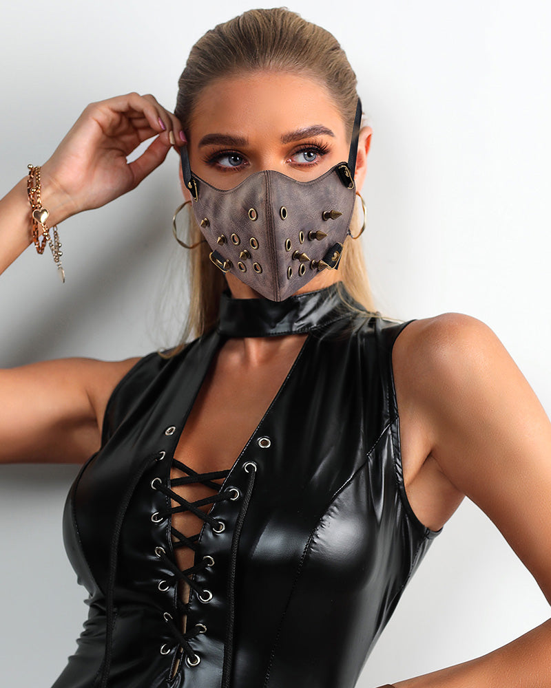 Rivet Punk Leather Breathable Motorcycle Biker Face Mask