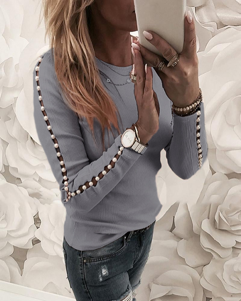 Beaded Ribbed Round Neck Blouse