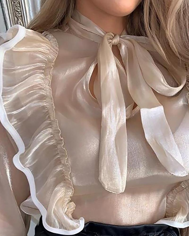 Bell Sleeve Tie Neck Ruffles Blouse