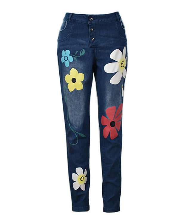 Floral Pattern Buttoned Pockets Denim Pants