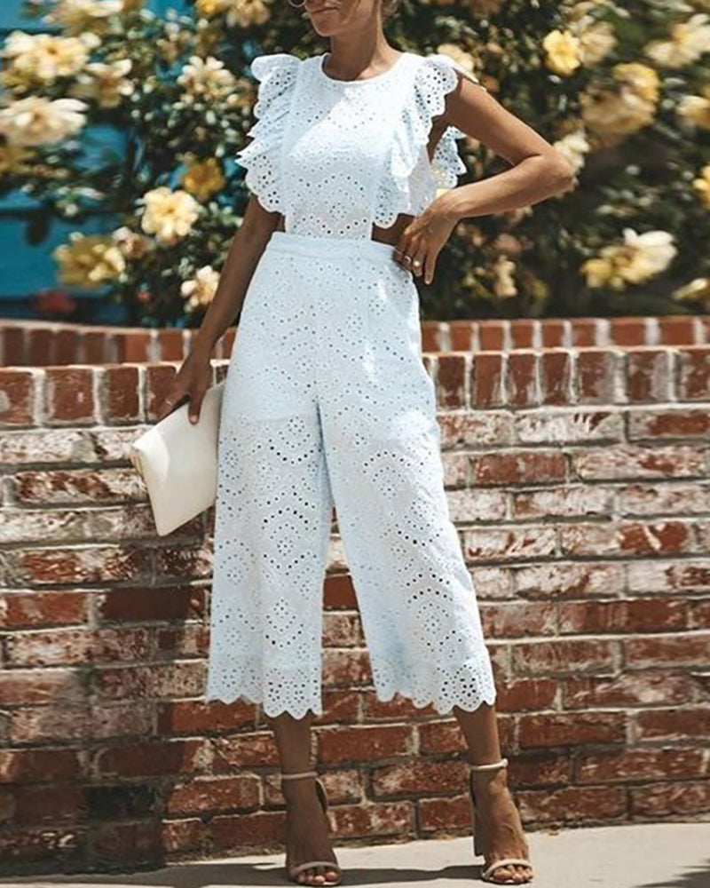 Eyelet Embroidery Ruffles Jumpsuit