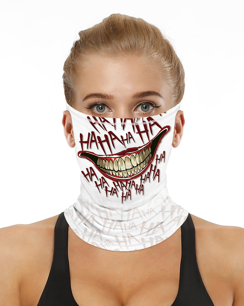 Mouth Letter Print Breathable Ear Loop Face Bandana Headwrap