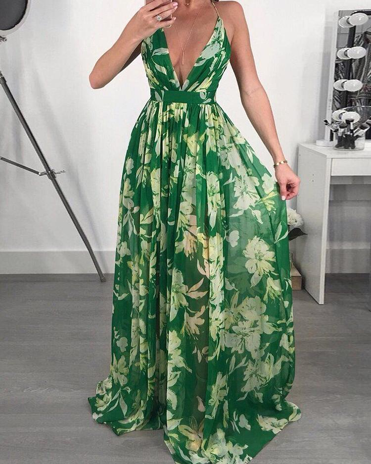 Floral Print Pleated Backless Slip Maxi Dress