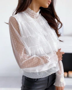Sheer Mesh Dot Ruffled Casual Blouse