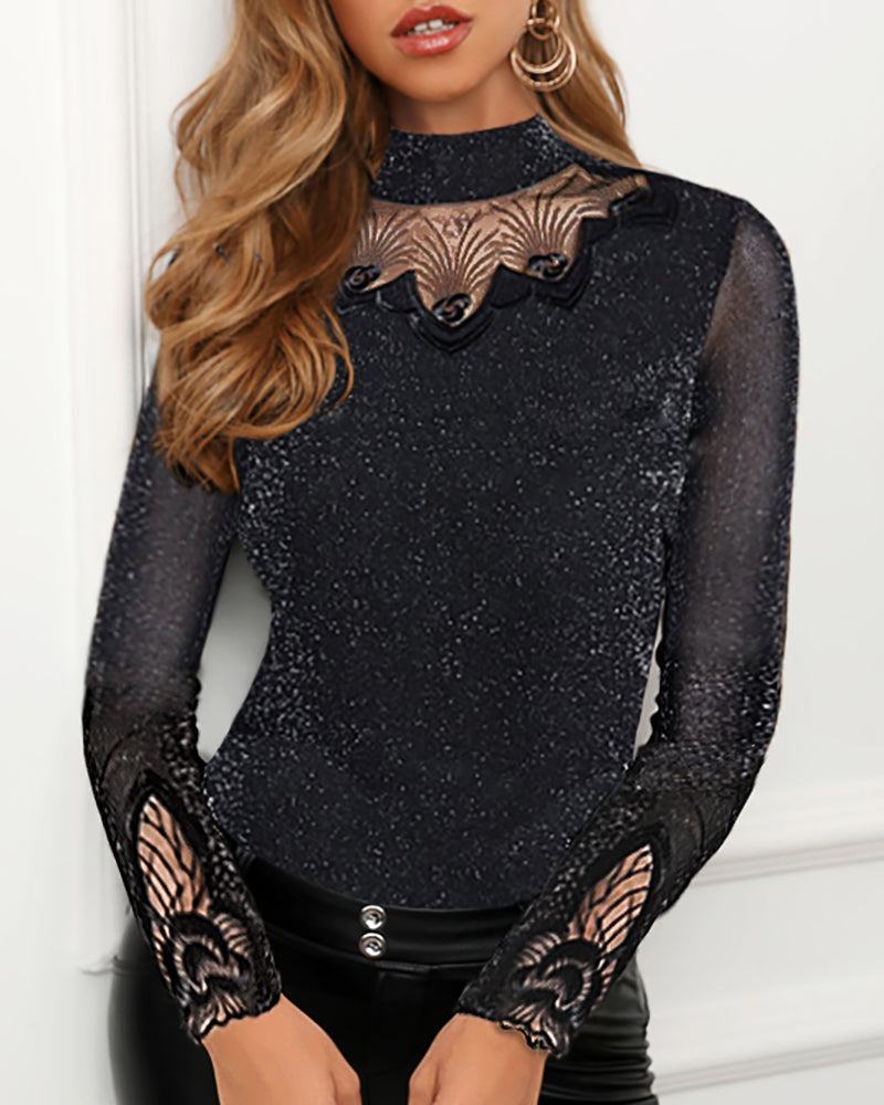 Glitter Mesh Insert Long Sleeve Blouse