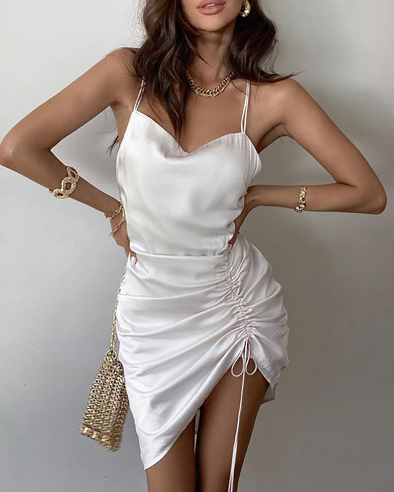Drawstring Ruched Satin Crisscross Backless Dress