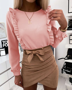 Ruffled Long Sleeve Casual Top
