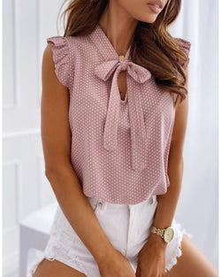 Dot Print Ruffles Sleeve Knotted Top