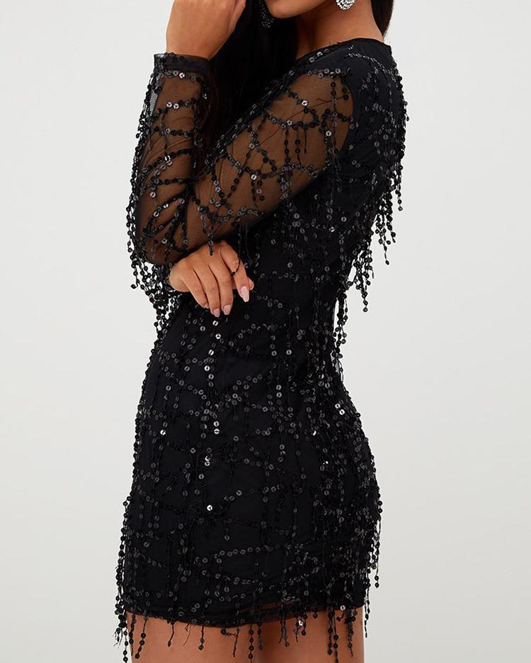 Long Sleeve Mesh Splicing Tassel Sequins Dress