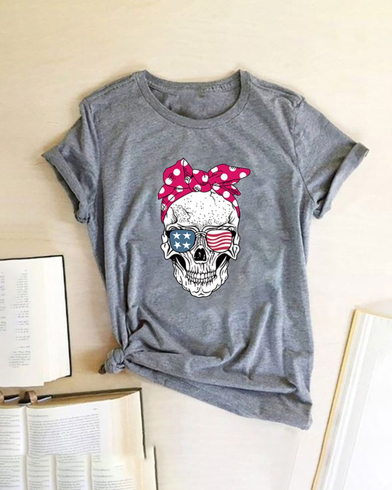 Skull Star Print Striped Shot Sleeve Casual T-shirt