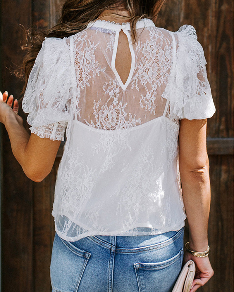 Lace Insert Mesh Casual Blouse
