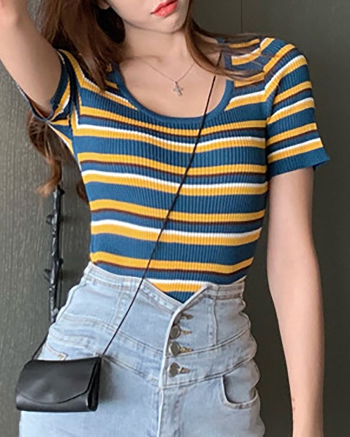 Striped Short Sleeve Ribbed Casual T-shirt