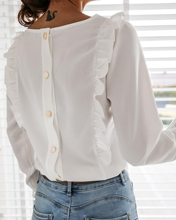 Button Design Frill Hem Long Sleeve Blouse