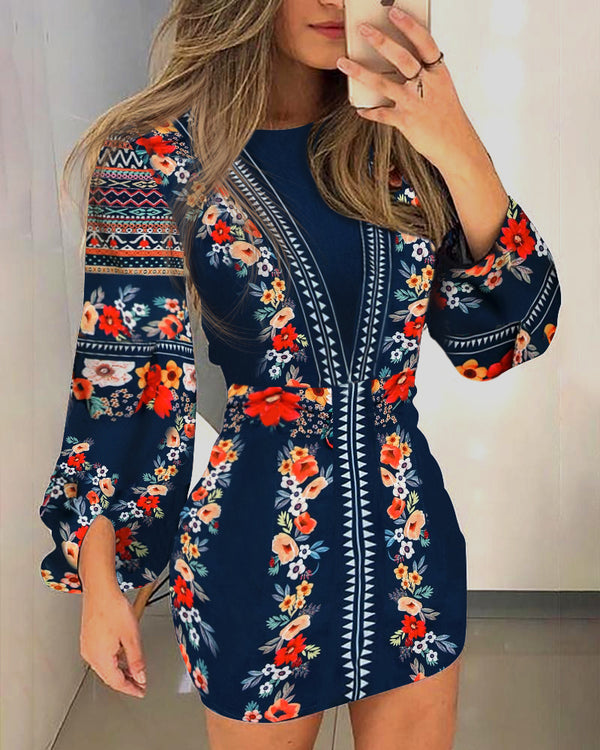 Cutout Back Lantern Sleeve Print Dress