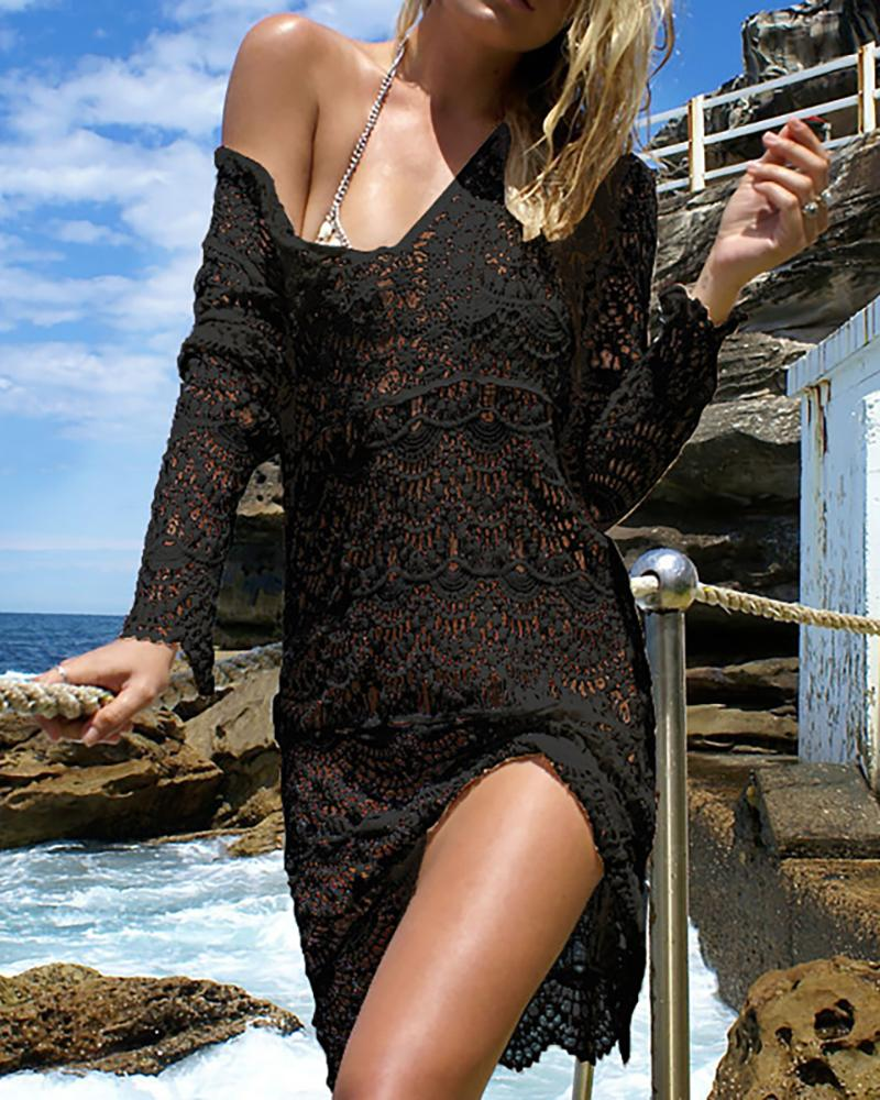 Hollow Out Crochet Cover Up Dress