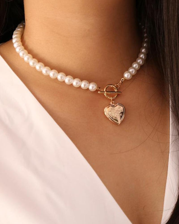 Vintage Opening Love Pearl Necklace