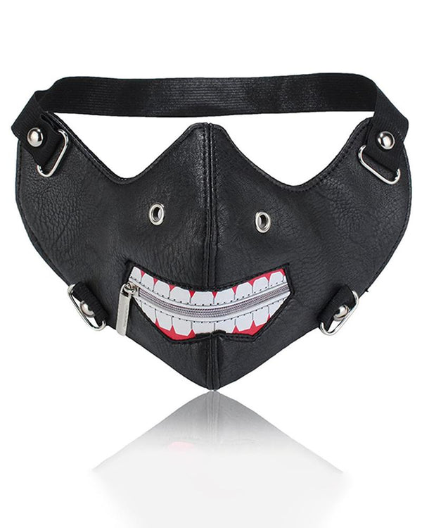 Zipper Lip /w Nose Ring Punk Leather Motorcycle Biker Face Mask