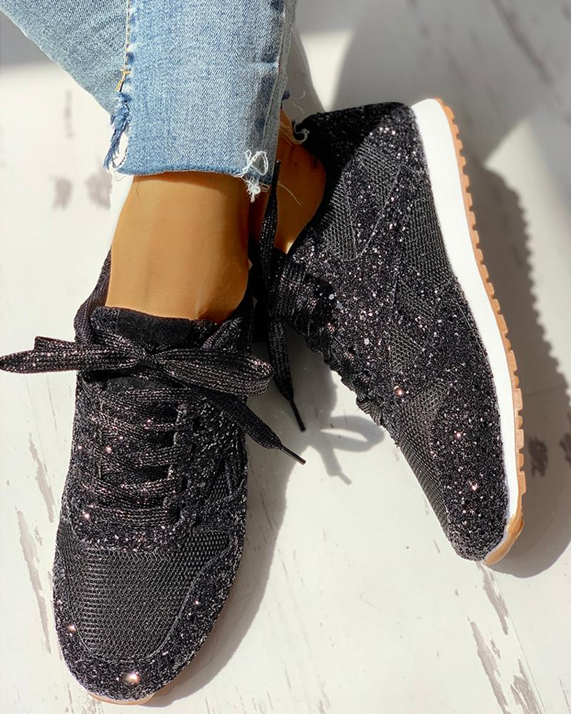 Solid Sequins Lace-Up Sport Sneakers