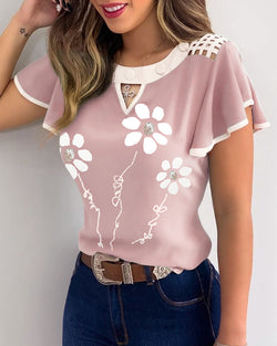 Floral Print  Flutter Sleeve Cutout Front Casual Top