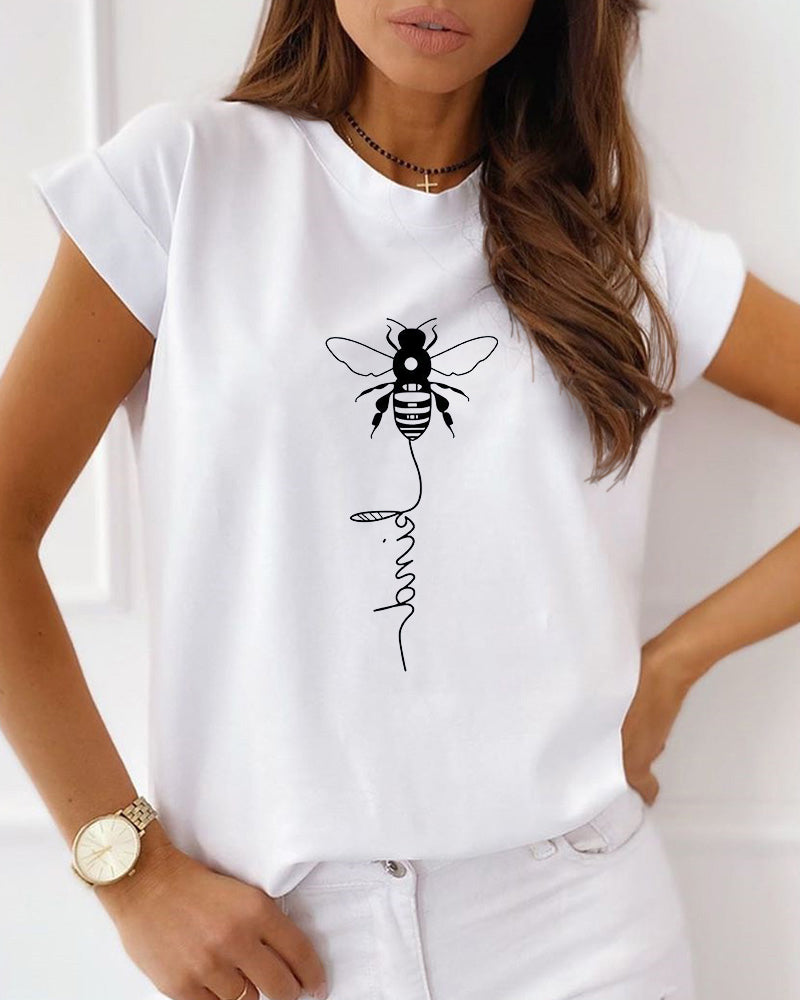 Bee Print Short Sleeve Casual T-shirt