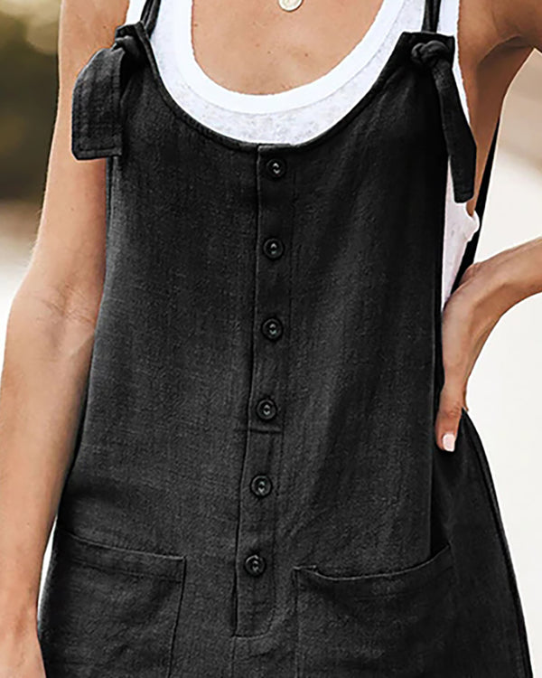 Solid Button Up Suspender Romper
