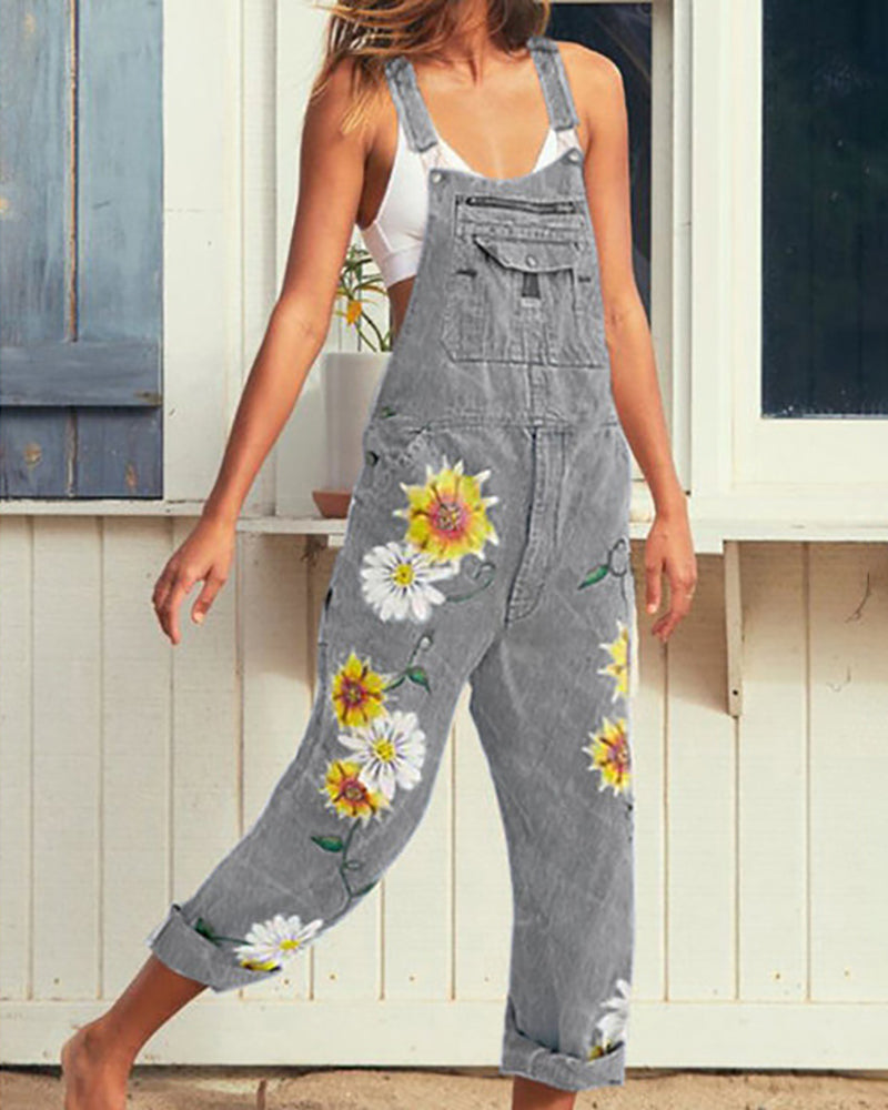 Thin Strap Floral Embroidery Pocket Suspender Jumpsuit
