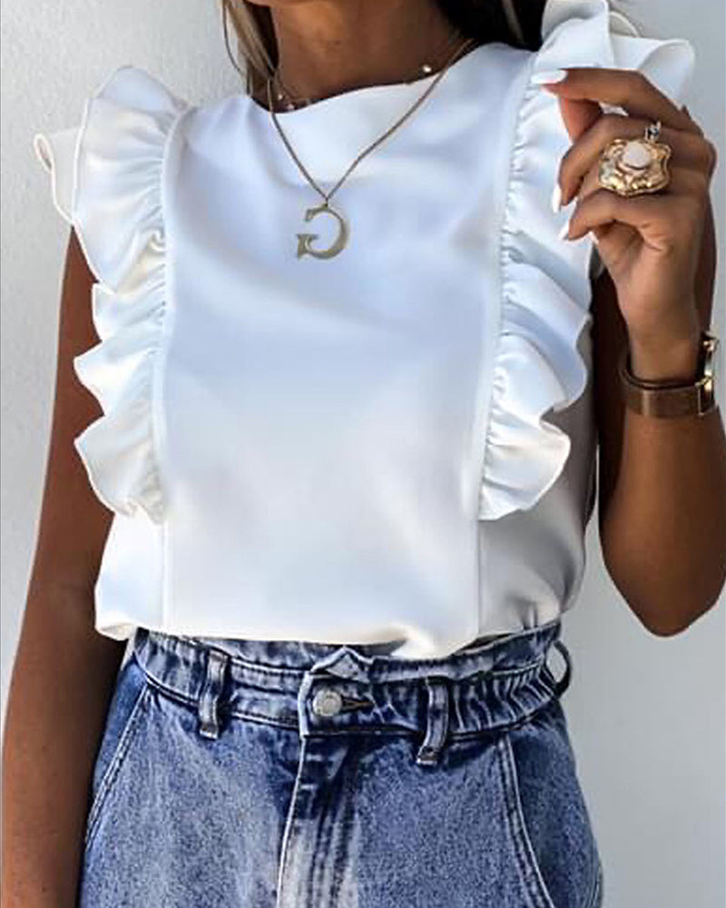Ruffles Ruched Short Sleeve Casual Top
