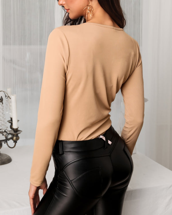 Long Sleeve Metal Buttoned Blouse