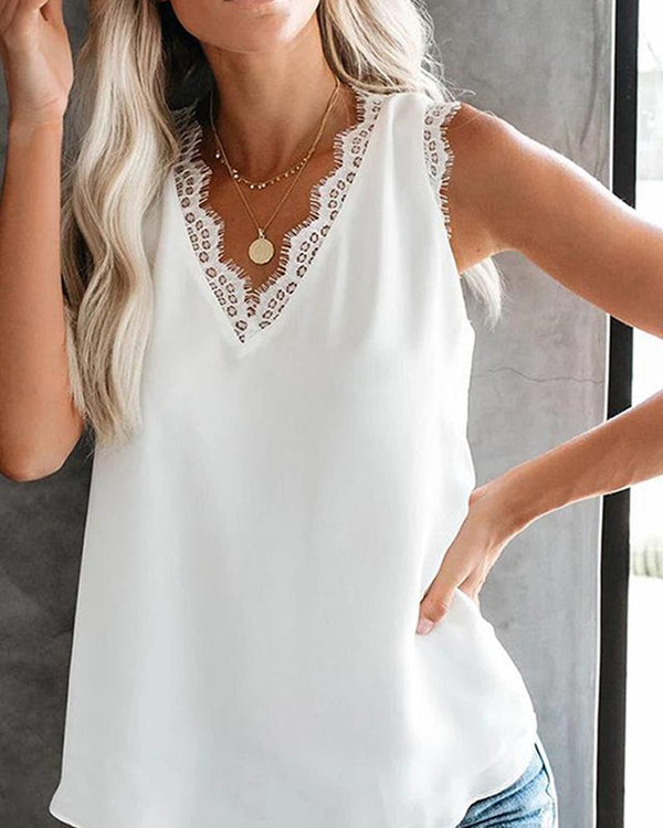 V Neck Lace Trim Top