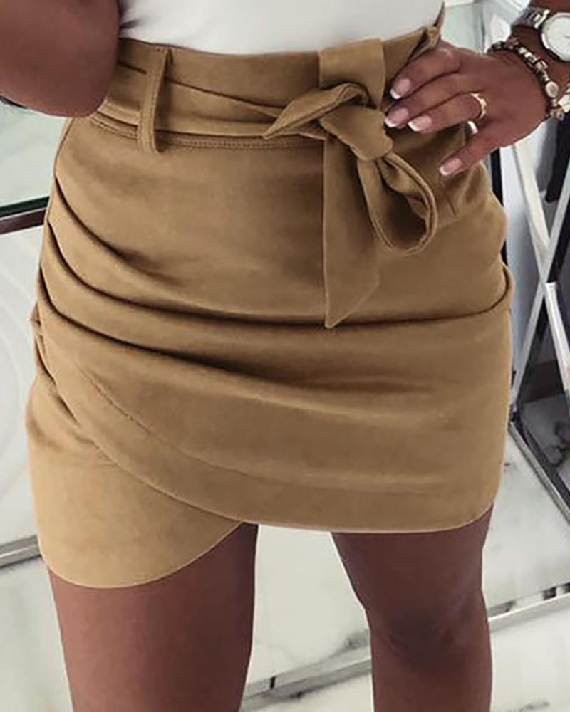 High Waist Ruched Mini Skirt