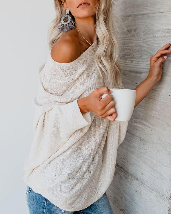 Round Neck Long Sleeve Casual Solid Knitting Sweater