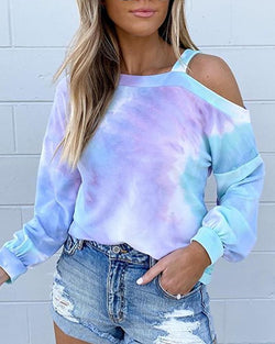 Tie Dye Print Cold Shoulder Sweatshirt